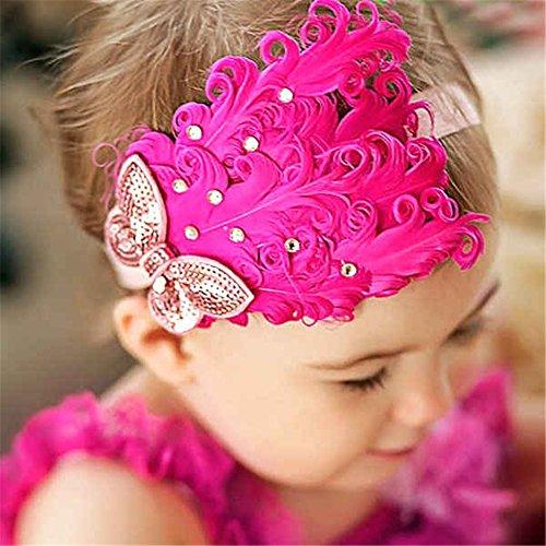 Kleinkind-mädchen Modische (Modisch Mädchen Baby Kleinkind Feder Kopfbedeckung Stirnband Fotografie Prop Pfirsich Schmetterling)