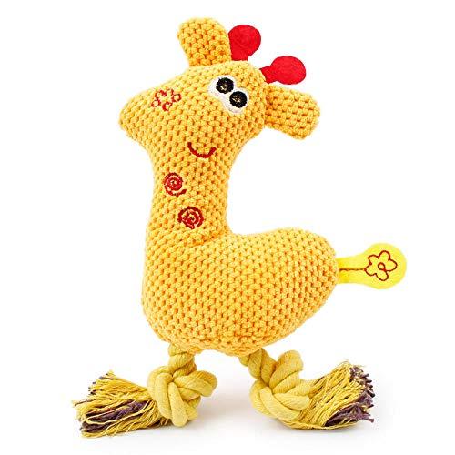 JFHGNJ Hundekauen Quietschen Spielzeug Giraffe Fleece Seil Interaktives Spielzeug Tiere Plüsch Welpen Hirsch für Hunde Katze Kauen Quietschen Spielzeug Gelb_24 x 9,5 cm -