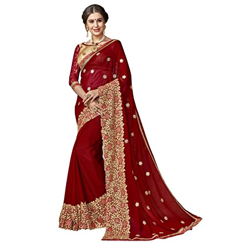Triveni Sarees Georgette Artsilk Festival Wear Embroidered Traditional Sarees (red)