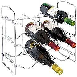 mDesign Botellero de Metal Cromado - Vinoteca para 9 Botellas - Soporte para Botellas de Vino, Agua y refrescos, Ideal para frigorífico, despensa o armarios de Cocina - Plateado