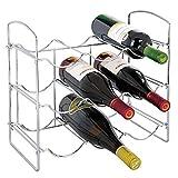 mDesign Botellero de metal cromado ? Vinoteca para 9 botellas ? Soporte para botellas de vino, agua y refrescos, ideal para frigorífico, despensa o armarios de cocina ? plateado