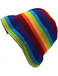 RAINBOW STRIPE HIPPIE FESTIVAL CROCHET BUCKET HAT COTTON