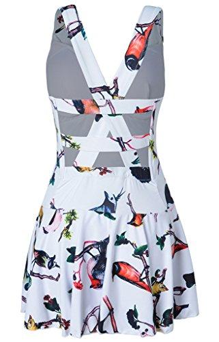 Hungo Damen Badekleid Einteiler mit Röckchen Badeanzug Figurformend Bademode Weiß