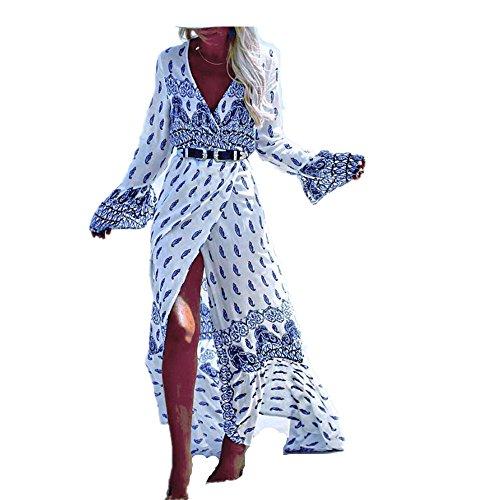 Sweetwill Boho Maxikleid Blumen Lange Sommerkleider Damen Maxi Strandkleid Casual Langarm V-ausschnitt Kleid für Frauen (Einheitsgröße, Farbe 4) - Durch Maxi-rock Sehen