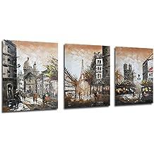 Oo art-stretched Streetscape Tour Eiffel del arco del Triunfo pinturas al óleo pintada a mano arte moderno pared decoración 3pcs/Set Paris regalos