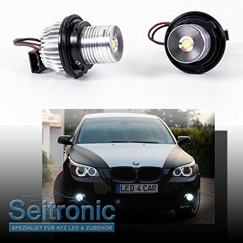 Seitronic® Brennerleuchten in Xenon Weiß OHNE Fehlermeldung mit langer Lebensdauer sowie als Standlicht einsetzbar. LED Angel Eyes mit effizienten 5 Watt und einer Farbstärke von 8000 Kelvin.