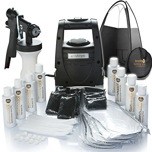 TS20 Pro HVLP Spray Tan Kit. Includes Quality tanning tent, tan & Disposables (Sticky Feet + caps + Bras + Thongs + solutions).