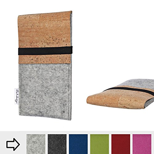 flat.design Handy Hülle SAGRES für Huawei P20 Lite Single-SIM handgefertigte Handytasche Filz Tasche Schutz Case fair Kork