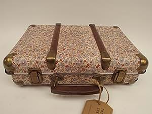 rjb stone valise vintage fleurs bleu marron cuisine maison. Black Bedroom Furniture Sets. Home Design Ideas