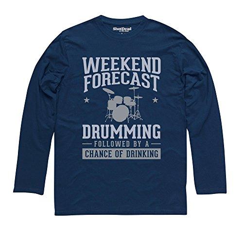 Weekend Forecast Drumming Langarmshirt Funny Novelty Gift, Herren Dunkelblau