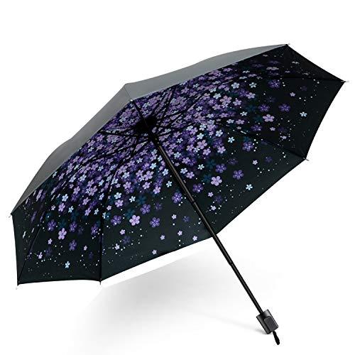 DORRISO Damen Taschenschirme Regenschirm Mini Sonnenschirm Leicht Kompakt Regenschutz Dauerhafte rutschfest Griff Reisen Taschenschirm Lila