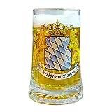 Geschenkbox Bierseidl Sternbodenseidl Freistaat Bayern mit Löwen und Fahnen, Rautenschild, Glas, 0,5 l