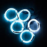 El Wire White Kit, Ticoze Neon Lights EL Wire 4 Modes Battery Operated for Party Indoor Outdoor Decoration, 5 by 1-Meter (White)