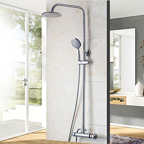 Preisvergleich Produktbild Modernes Bad Armatur thermostatische Armaturen Chrom poliert Dusche heiß & kalt Mischer Armaturen an der Wand montierte Regendusche Armaturen