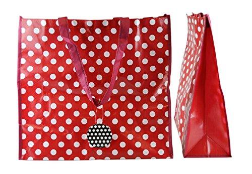 Funky Polka Dot Design Tasche perfekt für Shopping und Wäschekorb rot rot