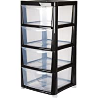 4 Drawer Large Plastic Storage Drawer Tower - Black - Perfect for Schools,Offices and Children