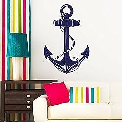 Tatuaje de pared Loft diseño: Ancla con Cuerda - Marítimo - Vinilo, gris, 35 x 54 cm