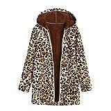 Lucky Mall Warme Damen Outwear Mäntel, Leopardenmuster Kapuzenjacke