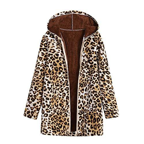 Verdickte Outwear Sweatjacke Parka Trenchcoat Malloom, Damen Winter Warm Outwear Leopard Print Mit Kapuze Taschen Vintage Über Größe Mäntel Leopard Print Trench