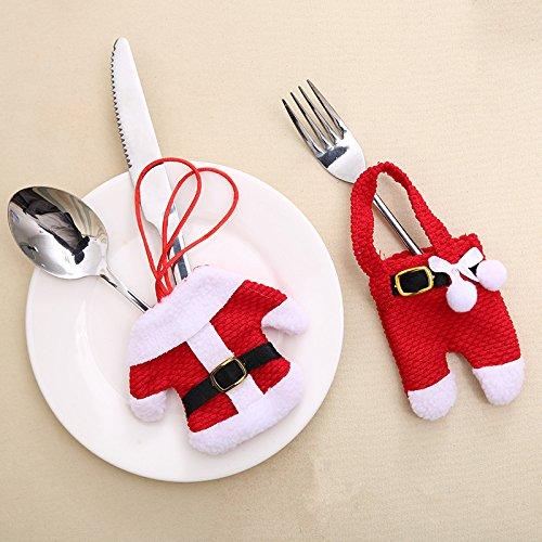 Dizie 6 Stück Besteckhalter, Handtuch, Messer, Gabel, Löffel, in Form eines Kostüms, Weihnachtsmann, süß, für Küchendekoration, Tisch, Wecker, Weihnachten (Süßes Weihnachtsmann Kostüm)