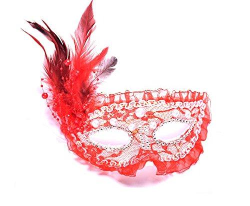 Hippolo Halloween Maskerade Geburtstagsparty Prinzessin Spitze Feder-Masken (Maske Rot Maskerade)