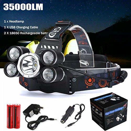Preisvergleich Produktbild LED Kopflampe, TopTen Fan-Motive 35000Lumen Ultra Bright LED Scheinwerfer Head Light mit Akku für Camping Jagd Wandern und Outdoor Aktivitäten