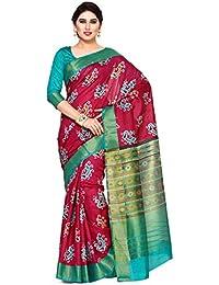 Mimosa By Kupinda Women's Tussar Silk Saree Ikkat Style (Latest Designer Sarees /Party Wear Sarees /New Collection...