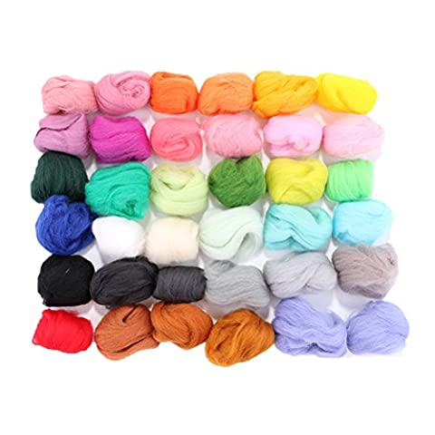 Felting Wool Roving Yarn Fleece Spinning Fiber For Needle Felting