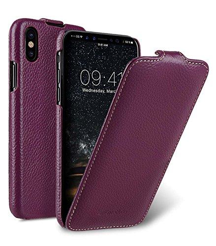 Edle Tasche für Apple iPhone XS und iPhone X / Case Außenseite aus beschichtetem Leder / Schutz-Hülle aufklappbar / Flip-Case / Etui / ultra-slim / Cover Innenseite aus Textil / Lila / Violett