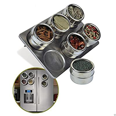6 Pc Magnetic Stainless Steel Pot Herb Spice Rack Tin Jar Holder Storage Stand by Multi Bargains