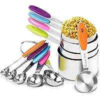 Set de Tazas y cucharas medidoras de Acero Inoxidable,Juego de 12,silicona antideslizante adecuado para ingredientes secos y líquidos para cocina horneando.
