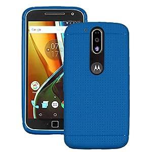 Heartly Retro Dotted Design Hole Soft Dot TPU Matte Bumper Back Case Cover For Motorola Moto G Plus 4th Gen / Moto G4 Plus / Moto G4 - Power Blue