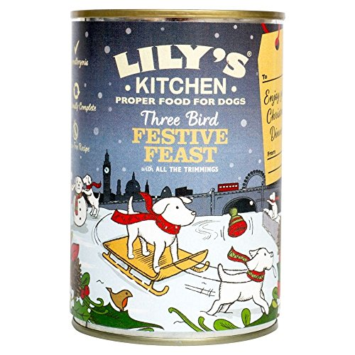 Lily's Kitchen Three Bird Feast Christmas Dinner for Dogs 400g each tin (Pack of 3)