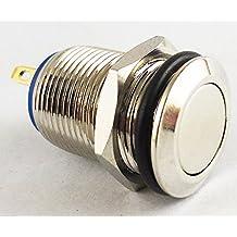 Bouton-poussoir instantané en acier inoxydable imperméable - Commutateur d'avertisseur ON / OFF 12 mm argent