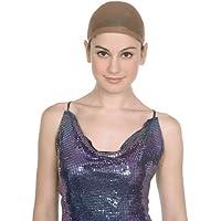 2pcs Beige Unisex Calze antiscivolo elasticizzato in nylon parrucca Cap Snood maglia