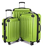 HAUPTSTADTKOFFER - Alex - 3er Koffer-Set Trolley-Set Rollkoffer Reisekoffer Erweiterbar, TSA, Doppelrollen, (S, M & L), Apfelgrün