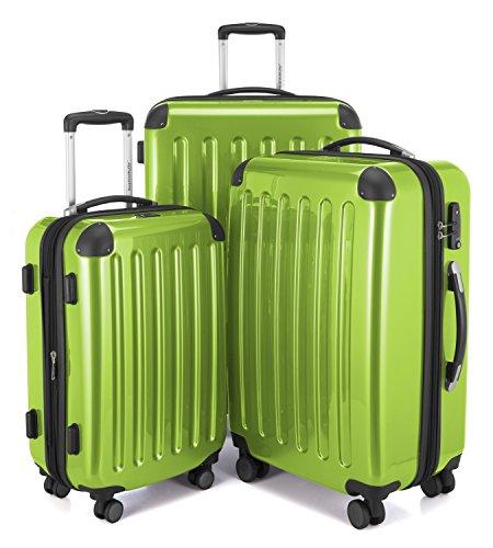 Hauptstadtkoffer - alex - set di 3 valigie, 4 doppie ruote, tsa, nero brillante, (s, m & l), 235 litri, colore  verde mela