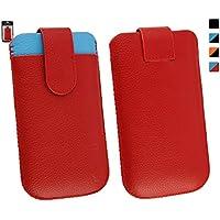 Emartbuy® Genuine Calfskin Cuero Rojo / Azul Deslice la bolsa funda manga (Tamaño 3XL) con ranura de tarjeta de crédito y Pull Tab mecanismo conveniente para Jiayu G4 / Jiayu G4c / Jiayu G4s