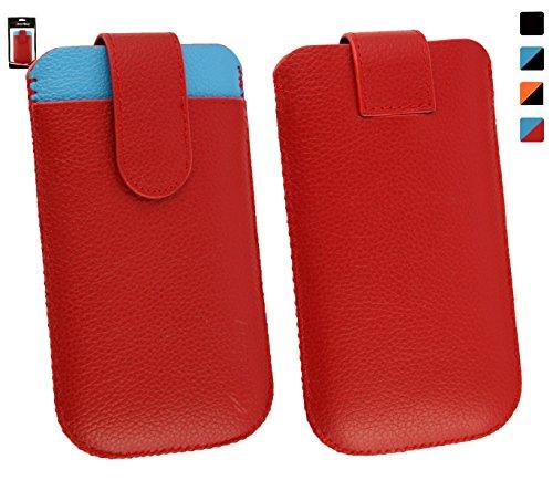 Emartbuy® Genuine Calfskin Leder Rot/Blau In Hülle Case/Tasche Hülle schieben (Größe 3XL) mit CRotit Card Slot & Pull Tab Mechanismus für geeignet Jiayu F1