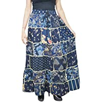 Mogul Interior Women Patchwork Gypsy Skirt Blue Rayon A-Line Long Flare Skirts S/M