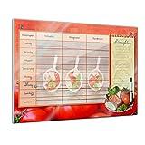 Bilderdepot24 Memoboard 60 x 40 cm, Planer - Tomate und Mozarella - Memotafel Pinnwand - Essenplaner - Übersicht -Wochenplaner - Kochen - Essen planen - Familienplaner - Küche - Flur - Wohnzimmer