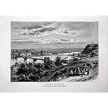 Coblenz et Ehrenbreitstein - Festung Ehrenbreitstein Koblenz Rhein Mosel Ansicht Holzstich antique print