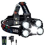 Linterna Frontal LED Recargable de 10000 Lúmenes, 4 Modos de luz, Zoom in/out, Ligera Elástica, para Ciclismo, Correr, Deportes Nocturnos...