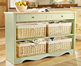 Winchcombe Console Table 4 Storage Wicker Baskets Drawers Kitchen Furniture