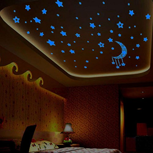 Kingko® A Set Fluorescence Moon Star Glow in Dark Luminous Star Nursery Kids Baby Room Wall Sticker Home Decal
