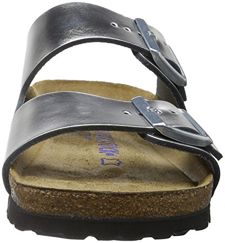Birkenstock Arizona, Sandales Bout Ouvert Femme Argent (Metallic Silver Soft Footbed)