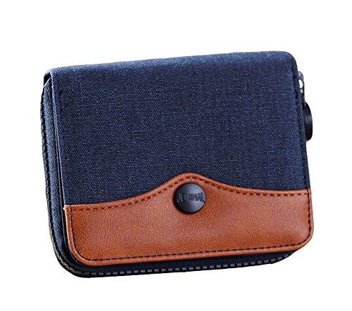 Leinwand Tri-fold Wallet (Ylen Herren Kurze Leinwand Portemonnaie Mappe mit Münzen Taschen Teenager Reißverschluss Geldbeutel Karten Halter Fall)
