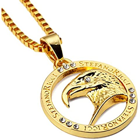 Nyuk para hombre Fashion Eagle 18 K original redondo Hip Hop collar