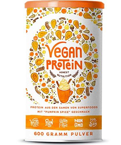 Vegan Protein | PUMPKIN SPICE | Pflanzliches Proteinpulver aus Reis, Lupinen, Erbsen, Chia-Samen, Leinsamen, Amaranth, Sonnenblumen- und Kürbiskernen | 600 Gramm Pulver