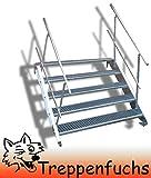 5 Stufen Stahltreppe mit beidseitigem Geländer / Breite 100 cm Geschosshöhe 70-105cm / Robuste Außentreppe / Wangentreppe / Stabile Industrietreppe für den Außenbereich / Inklusive Zubehör
